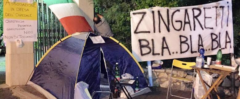 la vigilia della 6° notte in tenda davanti l'Ospedale di Colleferro