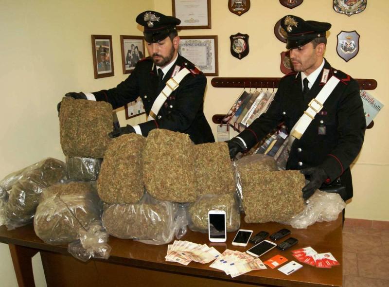 231015 PALESTRINA - La droga e i soldi sequestrati dai Carabinieri