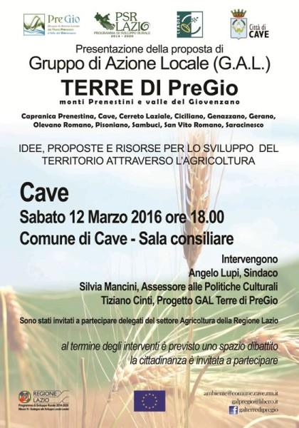 GAL TERRE DI PREGIO Cave 12 Marzo 2016