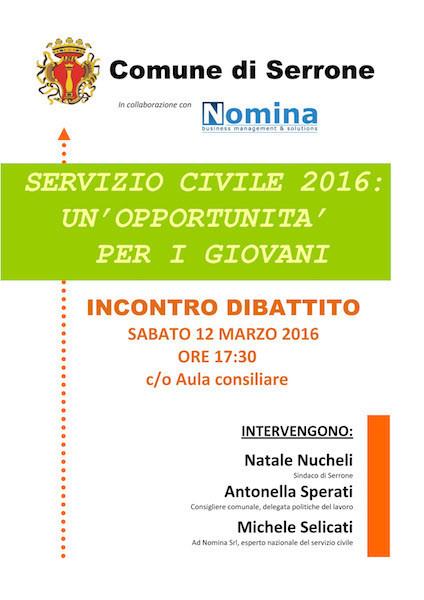 volantino servizio civile marzo 2016