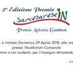 SAN CESAREO: IL PREMIO SANCESARESE IN E' INTITOLATO AD ANTONIO GAMBONI