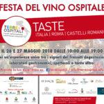 """""""FESTA DEL VINO OSPITALE"""" 26 E 27 MAGGIO 2018 AI CASTELLI ROMANI"""